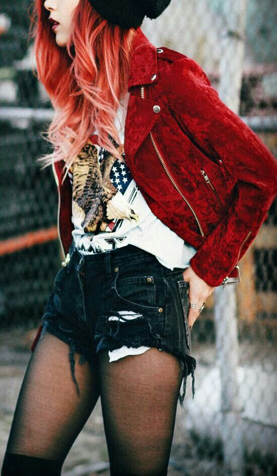 luanna perez velvet jacket grunge outfit her red hair