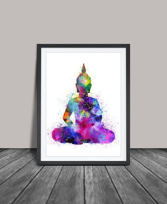 Buddha Wall Art Painting Yoga Print Watercolor Poster Poster33