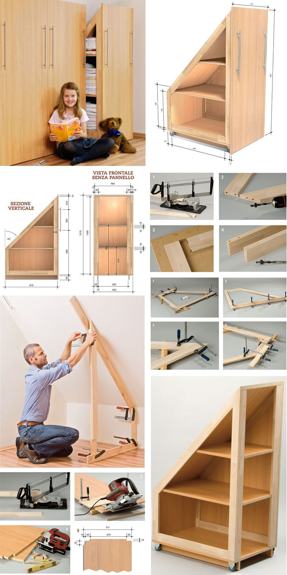 Armadio angolare fai da te Understairs Ideas angolare armadio fai – Garage Organization DIY