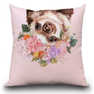 East Urban Home Baby Sloth with Flower Crown Throw Pillow #babysloth