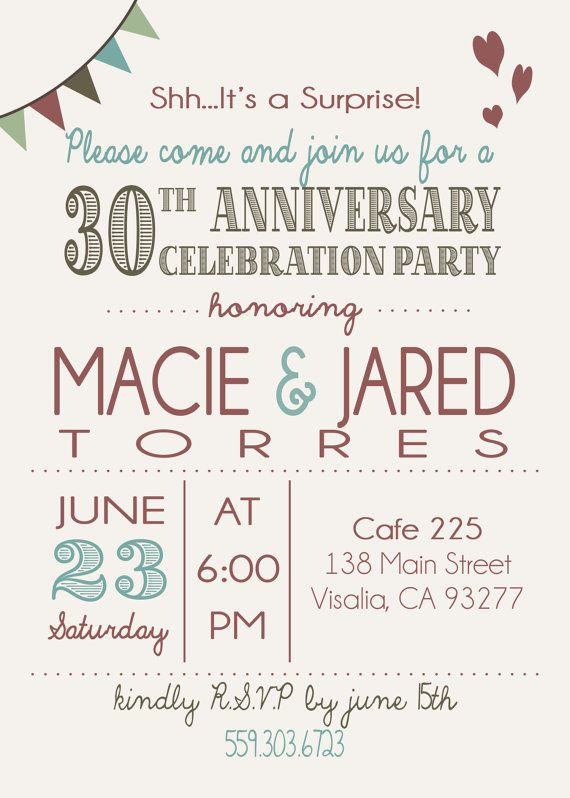 anniversary invitation surprise 30th by katerscustomdesigns 1500