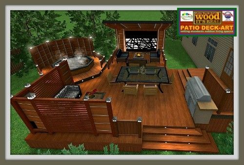 Modele patio exterieur en bois jardinage pinterest for Plan pour patio de piscine