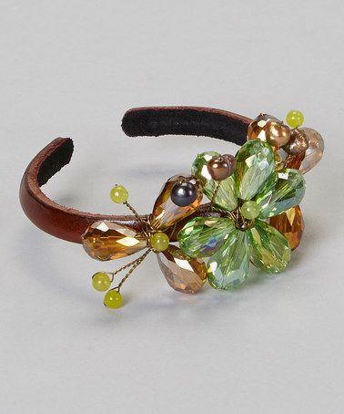 Look at this #zulilyfind! Brown & Green Crystal Flower Bracelet #zulilyfinds
