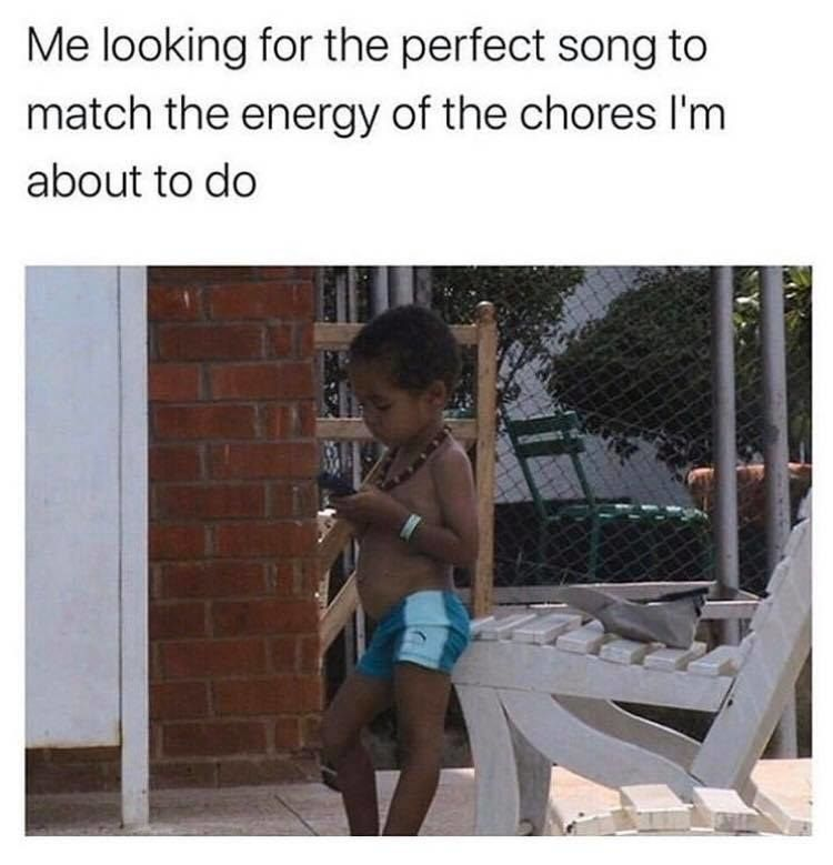 Takes longer finding a song than doing work: