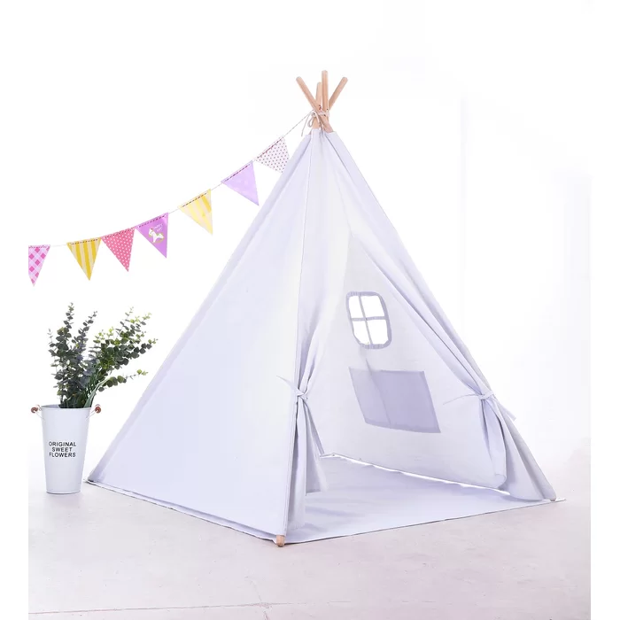 Triangular Play Tent With Carrying Bag In 2020 Kids Play Teepee Play Teepee Play Tent