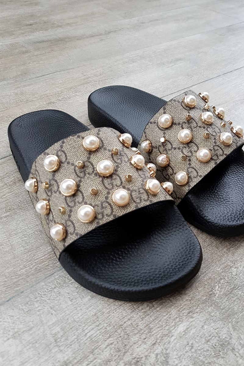 b3899bc3f71 Gucci logo slides slippers sliders  size 37 Pearl effect studs are  contrasted with gold toned