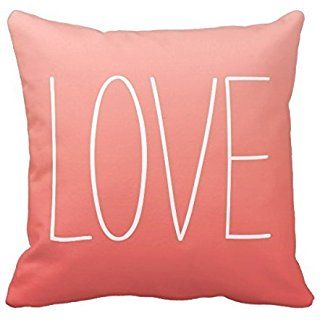 Bigdream Coral Pink Ombré Love Pillow Decorative Throw Pillowcase Cushion Case 16 X 16