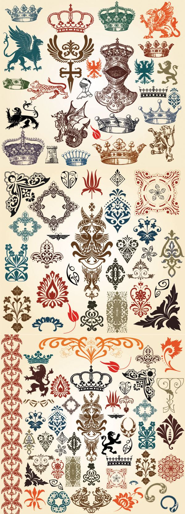 European Classic Pattern Totem Vector European-style Lace Crown ...