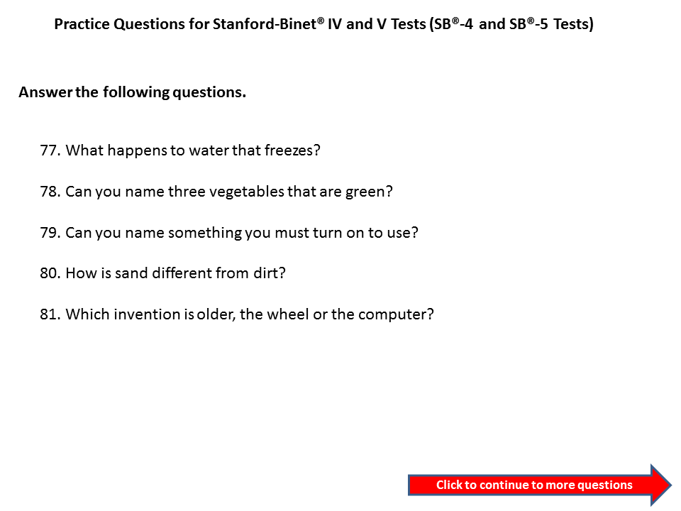 practice questions for the stanford binet 3rd grade to 4th grade the stanford binet 5 test. Black Bedroom Furniture Sets. Home Design Ideas