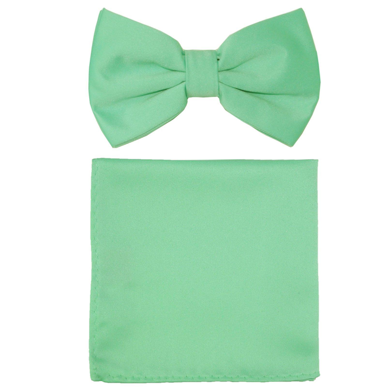 New formal men/'s pre tied Bow tie /& Pocket Square Hankie solid aqua green prom