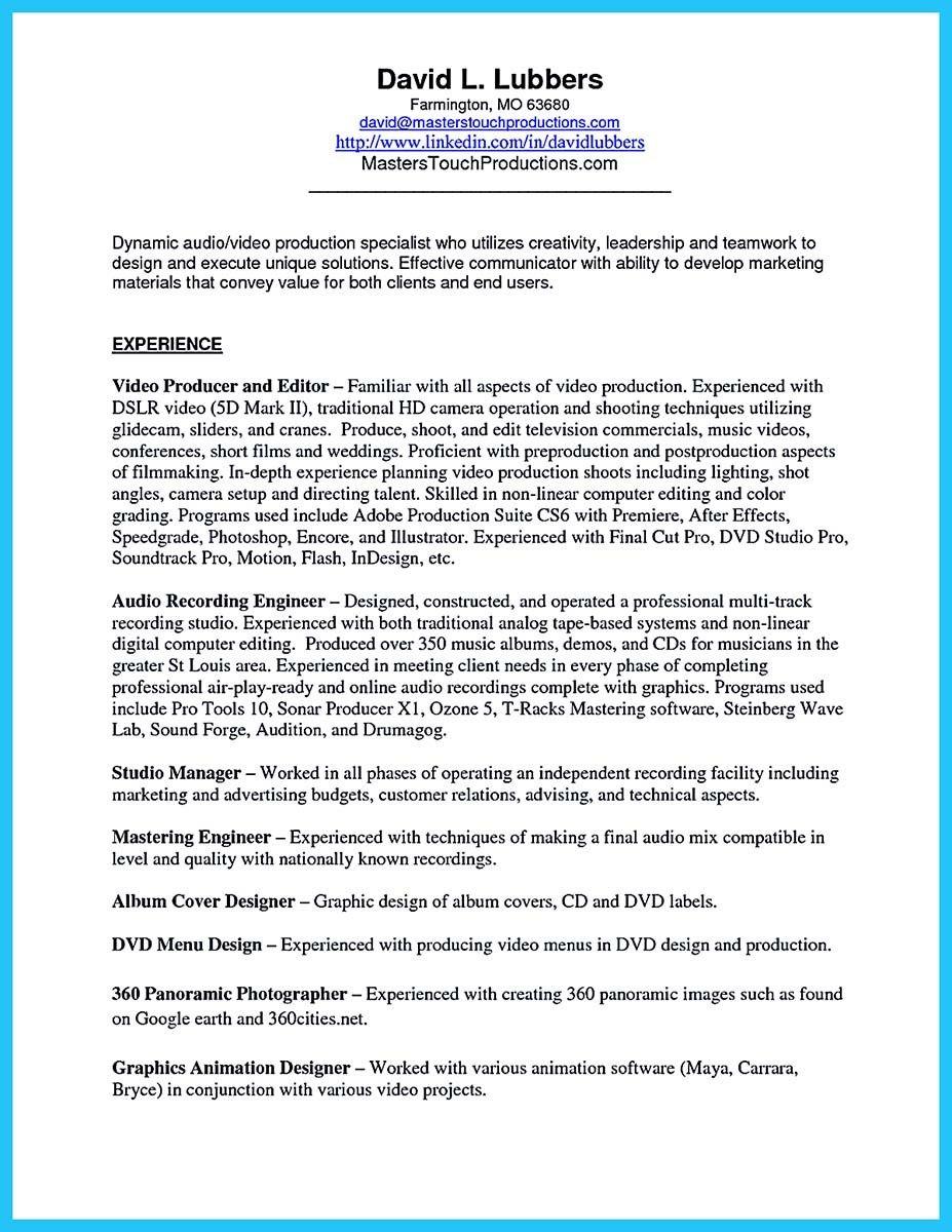 Crafting a representative audio engineer resume dengan