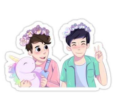Pastel Dan And Phil Sticker By Caffeinehug In 2020 Dan And Phil Fanart Dan And Phil Poster Dan And Phil