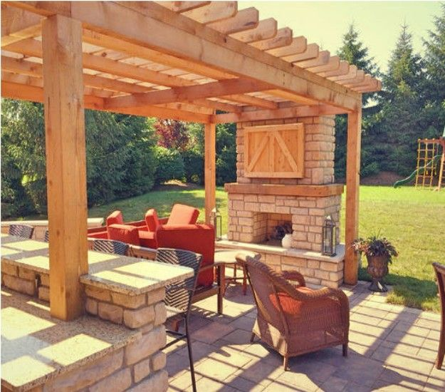 Backyard Pergola With A Bar. But We'd Want A Pizza Oven