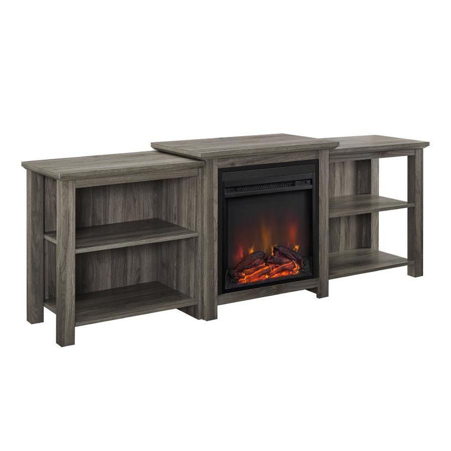 Walker Edison 70 In Tiered Top Open Shelf Fireplace Tv Console