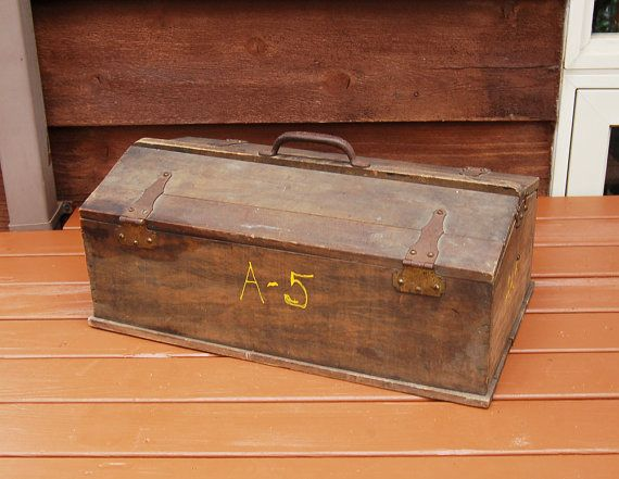 Antique Wooden Tool Box Wood Storage Box Old By PineSpringsCottage