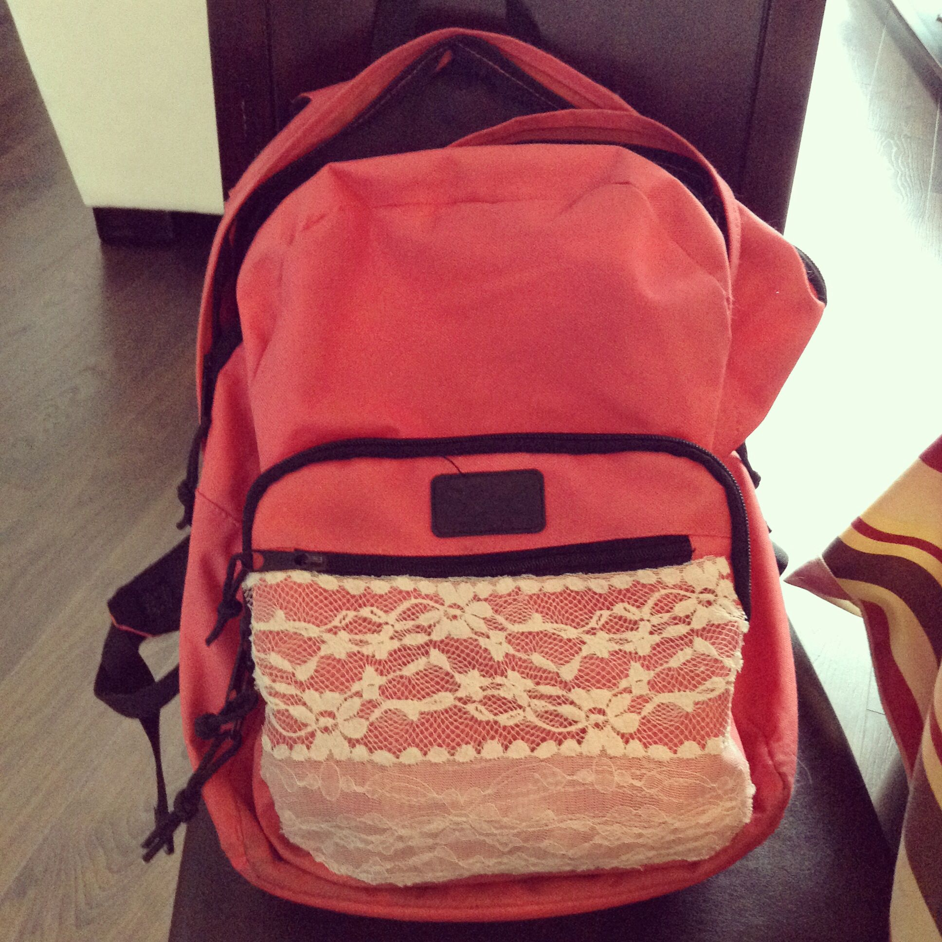 Added lace to my pink backpack!
