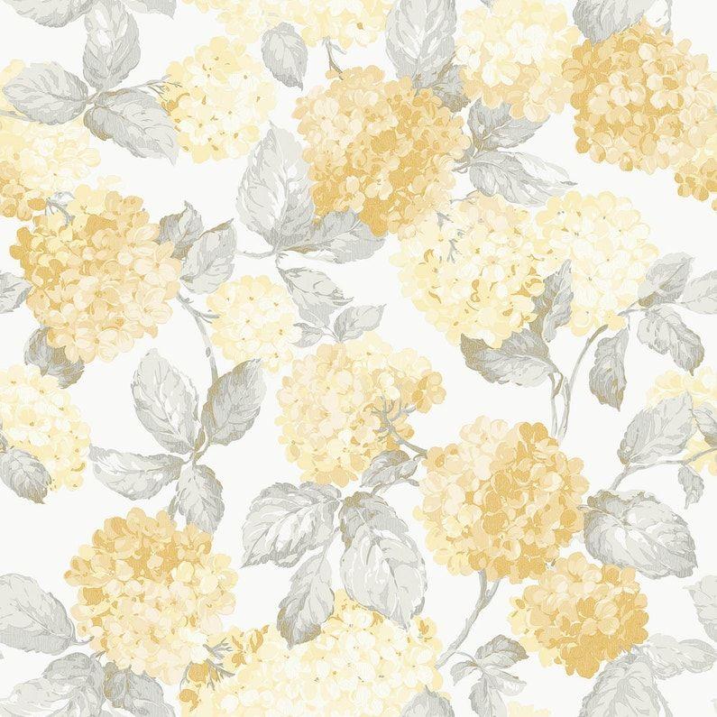 Papier Peint Lutece English Floral Hortensia Jaune Déco En