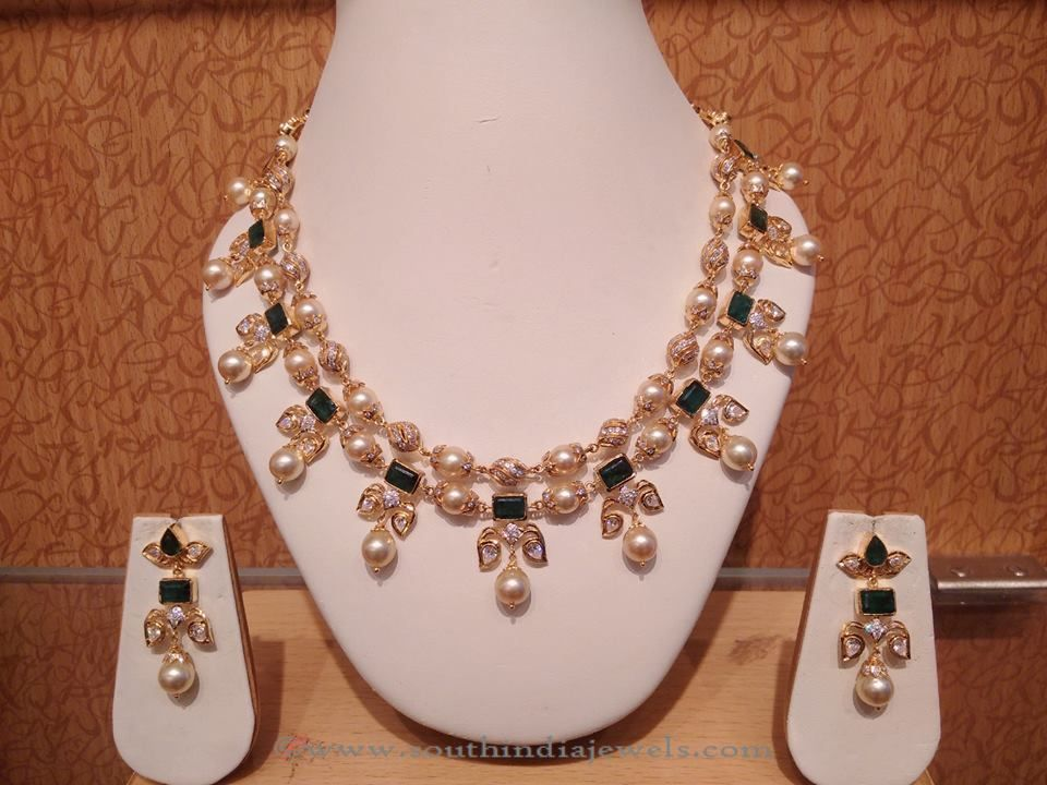 45f7c82984c 22K Gold Pearl Necklace Set from Naj | Necklace Collections ...