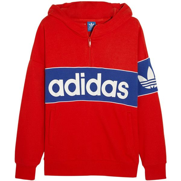 Adidas Originals City London Cotton Blend Terry Hooded Top Red