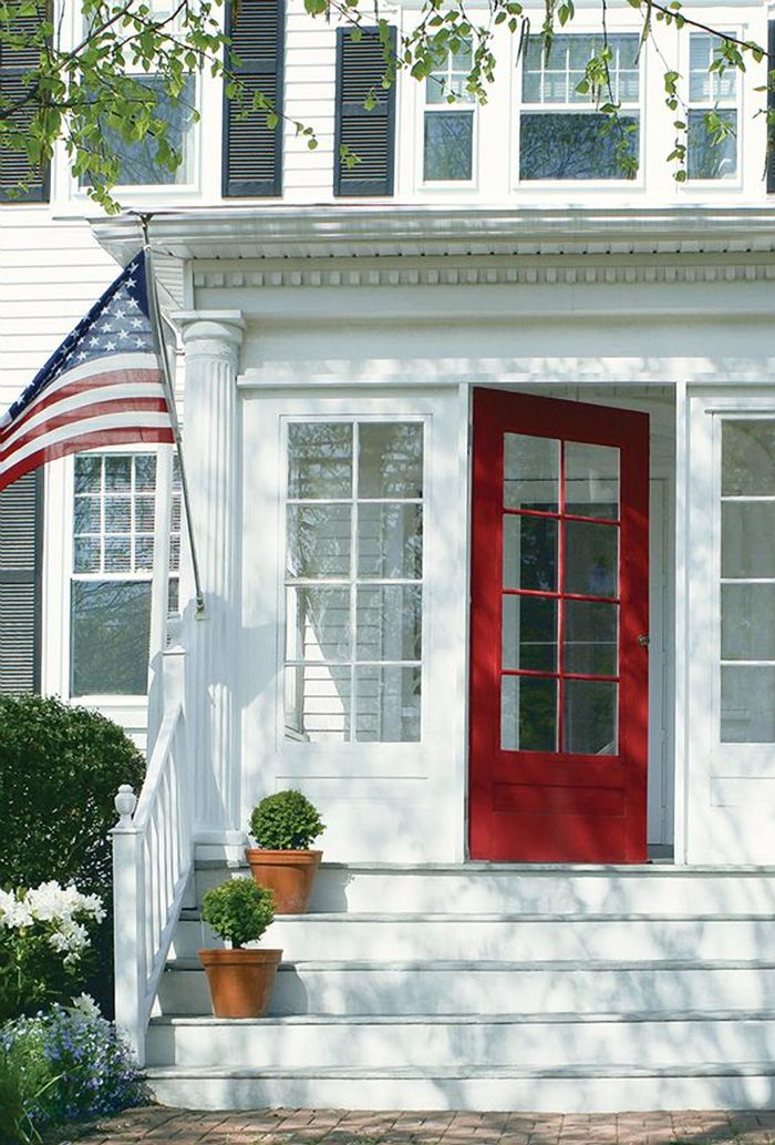 happy 4th summer in america with red white blue red door house white exterior houses. Black Bedroom Furniture Sets. Home Design Ideas