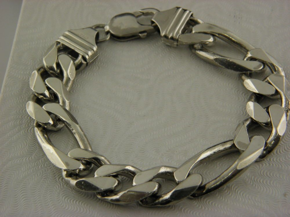 663b1bbccb9f5 Italy.925 Sterling Silver Men's Curb Link Heavy Wide Bracelet 8 ...