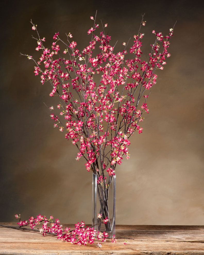 Cherry Blossom Silk Flower Stem Fake Flower Arrangements Fake Flowers Flower Arrangements