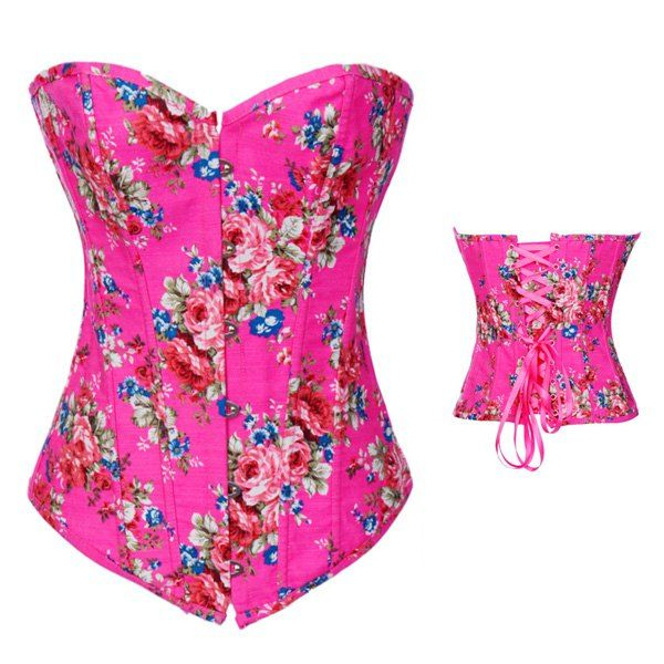 Women's Charming Floral Print Lace Up Corsets