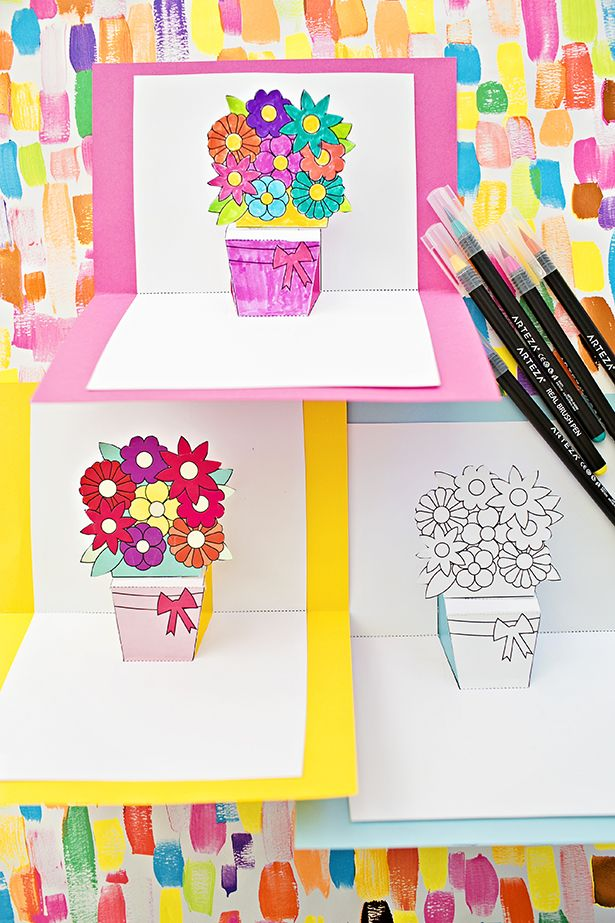 How To Make Pop Up Flower Cards With Free Printables Birthday Card Printable Birthday Card Template Free Pop Up Flower Cards