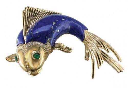 Brooch from Oscar Heyman, 18K yellow gold, diamonds, enamel, emeralds