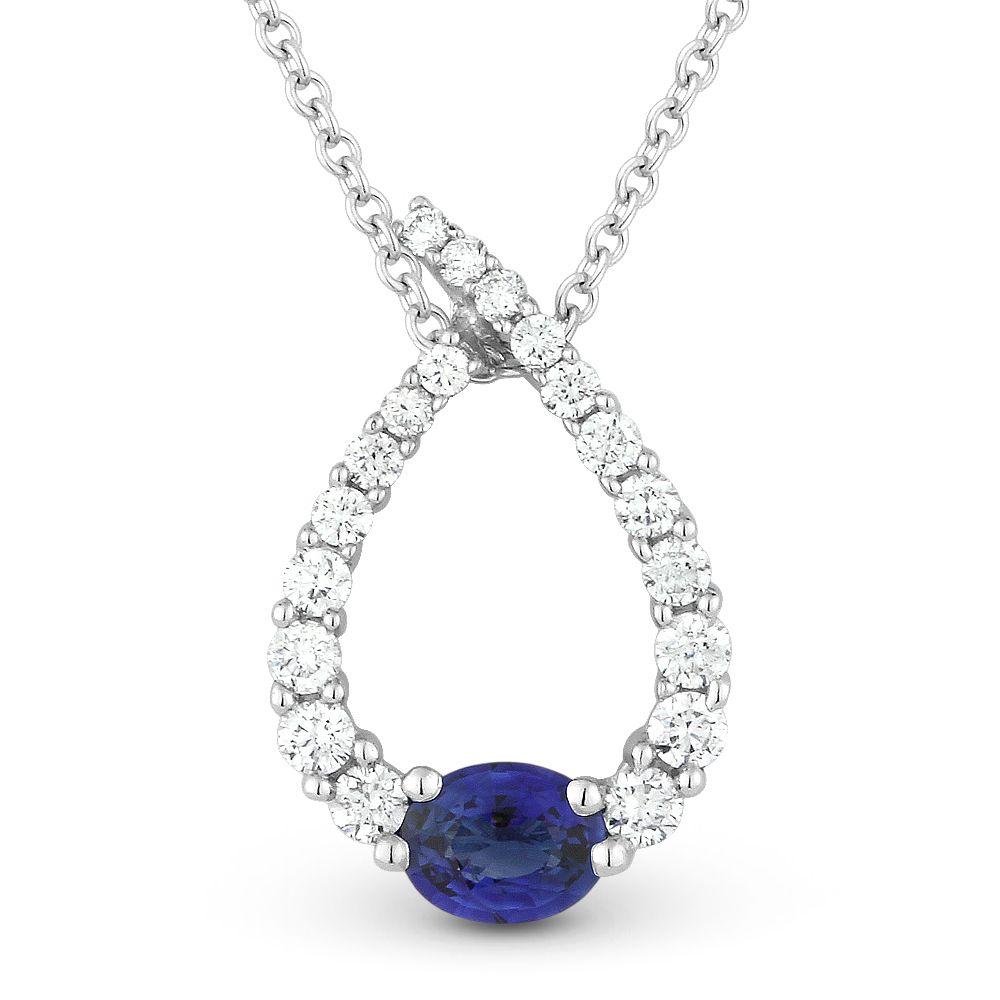 056ct sapphire diamond water drop charm journey pendant chain 056ct sapphire diamond water drop charm journey pendant chain necklace in 14k white gold aloadofball Gallery