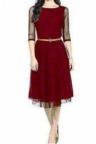 2d0ea9e16042 Net Party Wear Dress In Maroon Colour