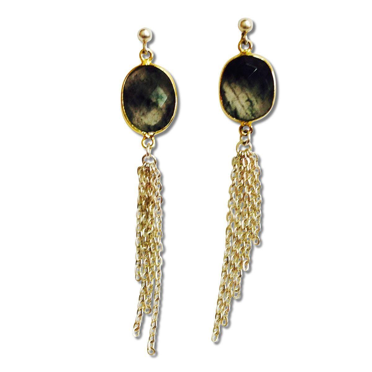 Smoky Quartz Tassel Earrings