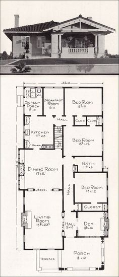 Mediterranean Style Bungalow c 1918 Home Plans by E W Stillwell Los Angeles California Representative Homes