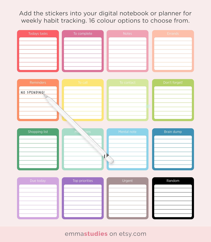 Digital Organisation Planner Stickers   GoodNotes Notability Digi