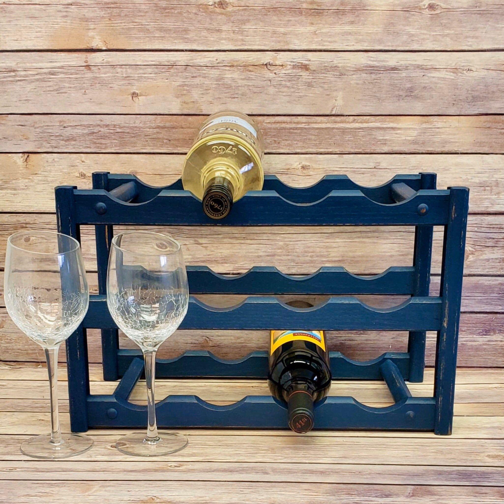 Navy blue wine rack wine storage wood wine rack