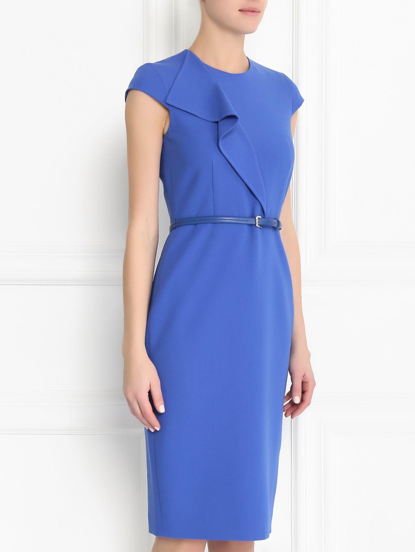 Купить Max Mara синее платье-футляр из шерсти с коротким ...