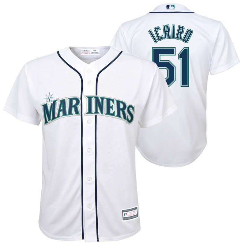 ce98289f1d6 Ichiro Suzuki Seattle Mariners Majestic Youth Home Cool Base Replica Player  Jersey – White