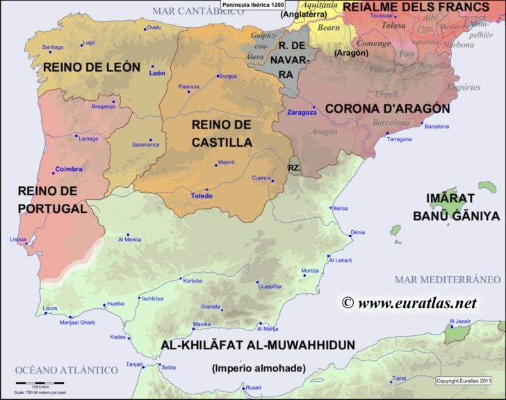Map of the Iberian Peninsula in the year 1200 ...