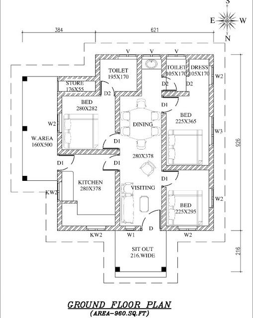09 lakhs kerala home plan budget kerala home with free for Budget home plans