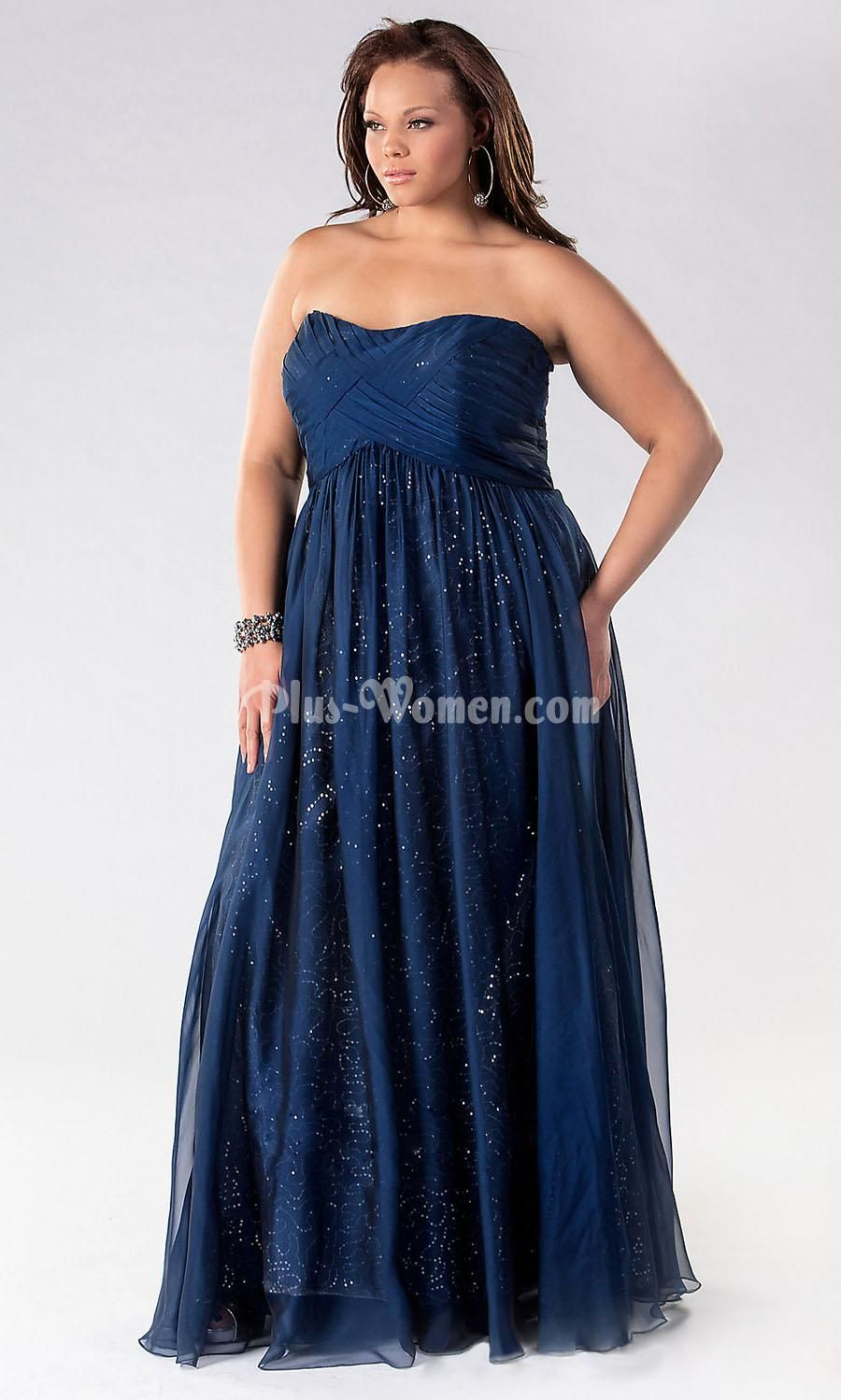 Navy Blue Prom Dresses for Plus Size Girls