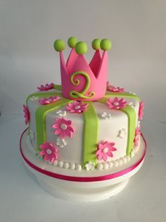 Princess crown cake with fondant flowers #fondant