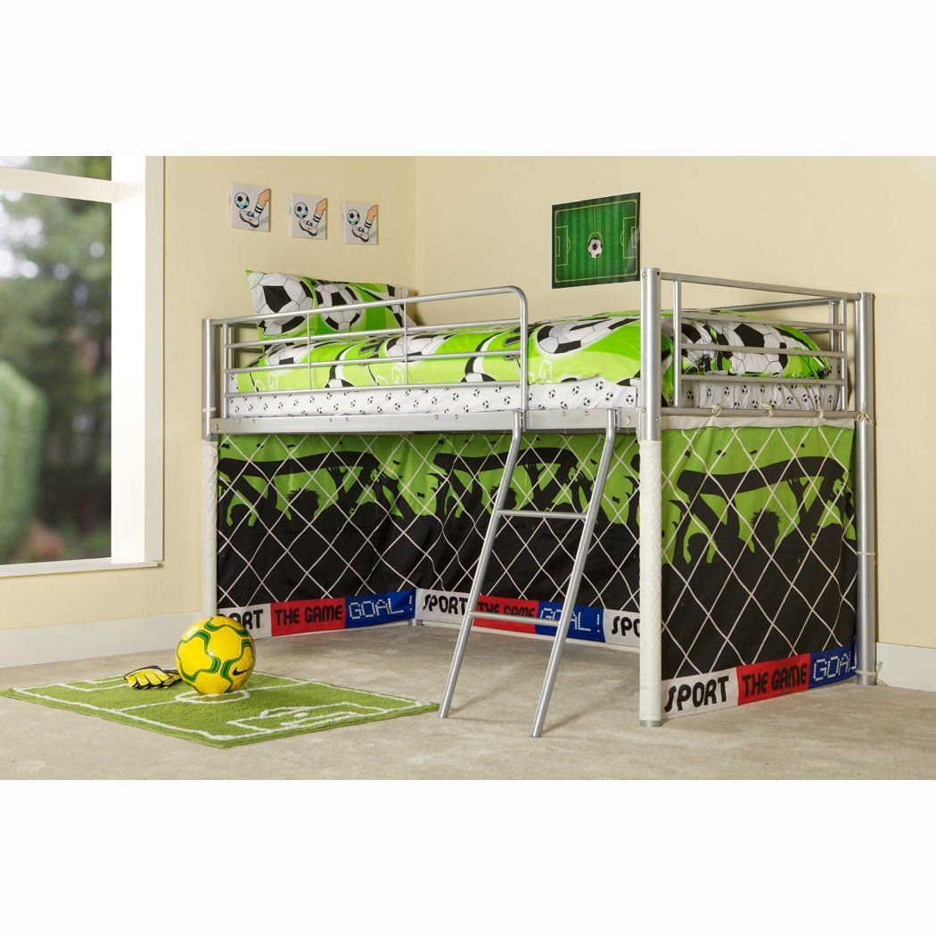 Metal loft bed curtains - Kids Football Goal Metal Mid Sleeper Boys Cabin Bunk Bed Tent Included Amazon Co