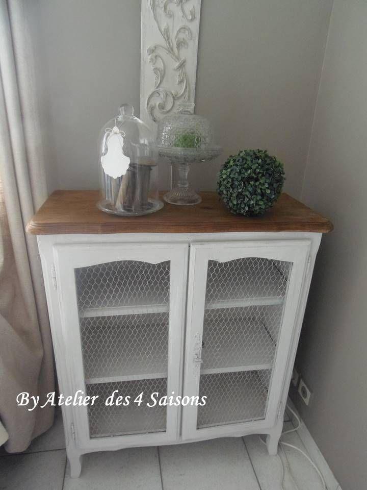 Meuble grillag style louis xv patin gris perle blanc - Effet chaule blanc poudre ...