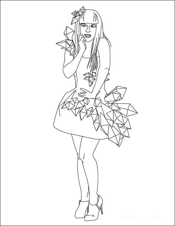 lady gaga line drawing to color coloring pages