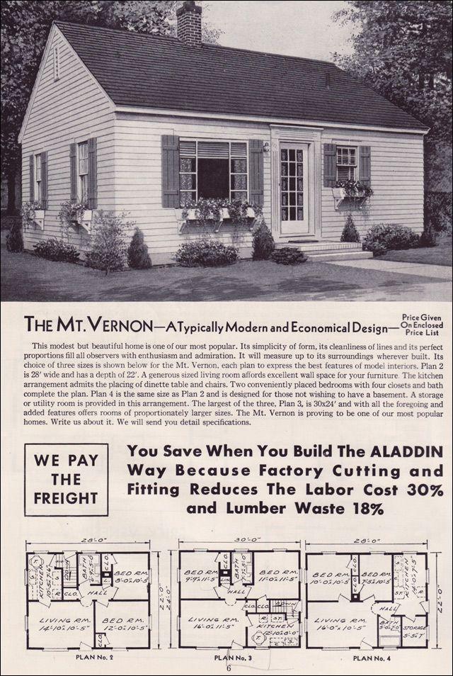 1951 Aladdin Kit Houses The Mt Vernon Mid Century