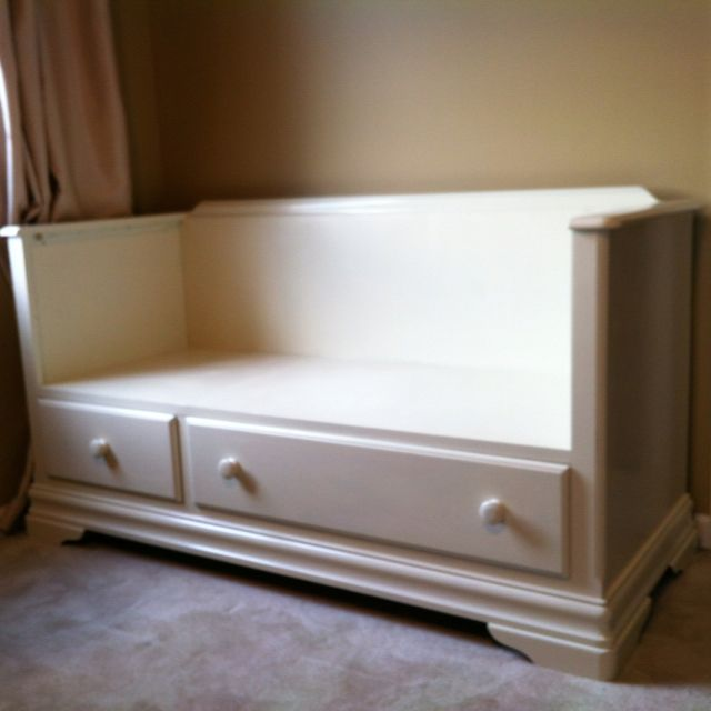 Repurposed entertainment center to bench seat.