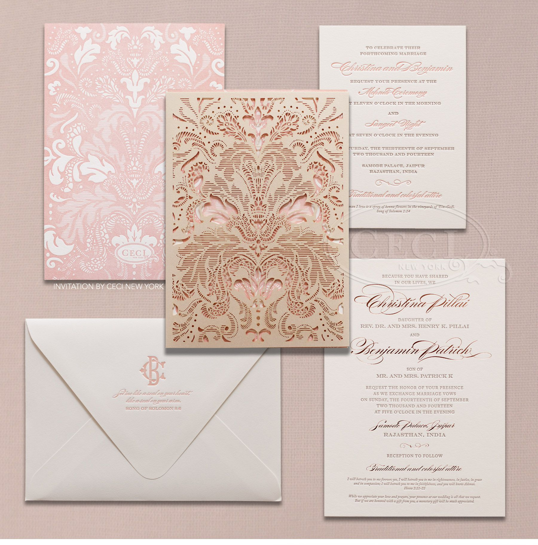 Beautiful Luxury Indian Wedding Invitations Pink Gold Ideas Pinterest Indian wedding