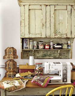 love this sewing room now I just need to find this kind of shelf at a garage sale. . . Hmm