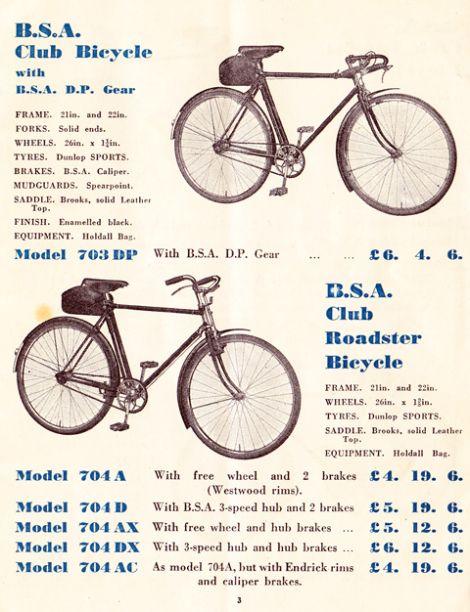 1936 Bsa Catalogue Bicycle Dunlop Sport Bicycle Brands