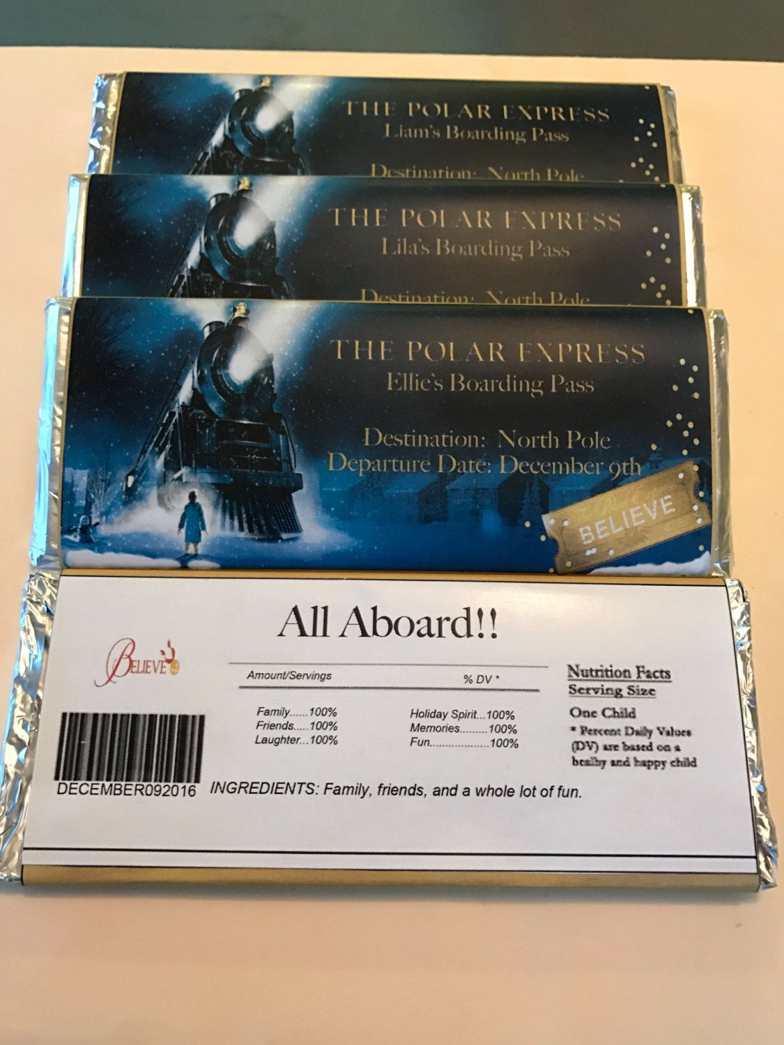 Polar Express Ticket Candy Bar Wrapper By Yoursweetdetails On Etsy